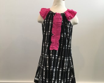 Toddler Ruffle dress: Ruffle tunic, Grow with me Tunic, Peasant Dress in black and pink, Ready to ship
