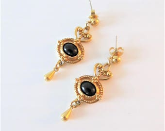 Vintage AVON Earring Set / Gold and Black Victorian Style Dangly Antiqued Costume Earrings