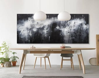 Large Abstract seascape giclee print on paper canvas from painting horizontal black blue white grey 'silent prophet' 615