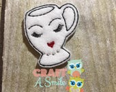 Fancy Cup #4 Feltie/Stitchie for the Snap Barrette Covers, Alligator Clip Covers, or Badge Reels!