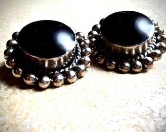 Onyx Sterling Earrings  Mexican silver clip on earrings