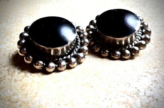 Onyx Sterling Earrings  Mexican silver clip on earrings