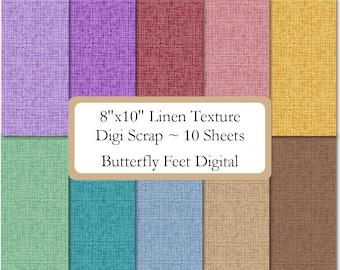 8x10 Linen Texture Digital Paper Digi Scrap, 10 Printable Background Papers, 300 dpi JPG, Instant Download