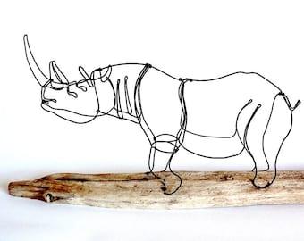Rhinoceros Wire Sculpture, Wire Art, Minimal Wire Design, Rhinoceros Art, 512284373