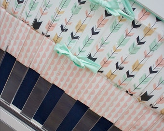 Feather Arrow Crib Bedding Girl, Woodland Nursery Bedding Set, Peach, Salmon, Mint, Gold, Navy, Woodland, Scallops, Aztec, Tribal Baby Girl
