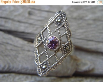 ON SALE Vintage marcasite ring with a purple cz in the center