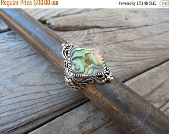 ON SALE Abalone ring handmade in sterling silver