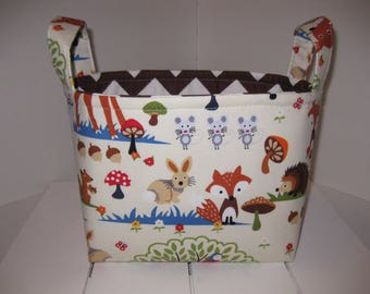 Woodland Animals Brown Chevron Fabric Organizer Bin / Basket / Diaper Caddy- Deer Fox Racoon
