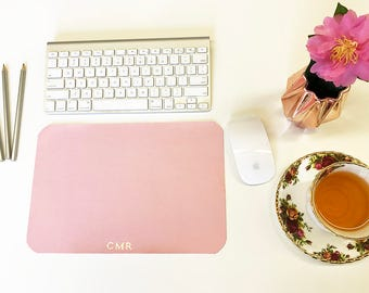 Monogram Desk Mat Pink Gold Mouse Mat Leather Keyboard Pad Bloggers Youtubers Custom Name Designer Stylists Accessory Her Birthday Gift