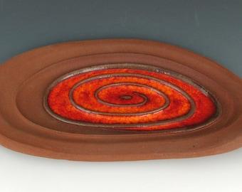 FREE-FORM PLATTER - Small Red Stoneware Platter - Centerpiece - Decorative Plate - Home Decor - Studio Pottery