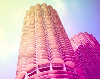 Chicago Photography, Marina City Towers, Architecture, Chi Town, Illinois, Travel Photo, Urban Landscape, Decor, Cityscape, Skyscrapers, Art