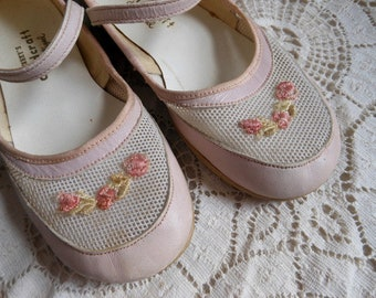 Pink Mary Jane Mesh Childcraft Shoes Size 8 Vintage at Quilted Nest