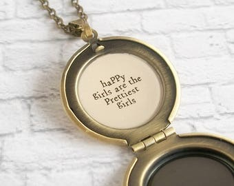 Audrey Hepburn Quote Locket Necklace Retro Photo Jewelry Old Hollywood Vintage Picture Pendant