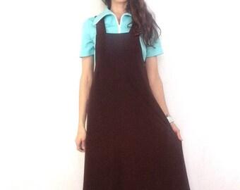 Stretchy 90s Jumper / Vintage Brown Dress / 1990s Minimalist Overall Dress Smooth Sateen Fabric Mid Length Pockets Heavyweight Medium Tan