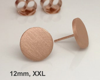 Rose gold disc stud earrings, extra large matte rose stud earrings, mens stud earrings, fake plugs, nail it down, 420MR 12mm