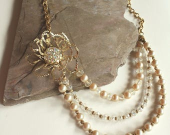 Gold Flower Asymmetrical Pearl and Crystal Statement Necklace