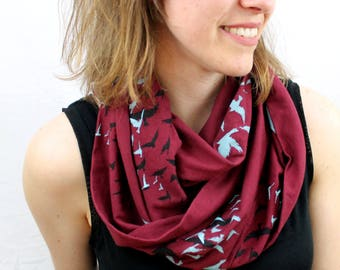 Flock of Birds Screen printed Infinity Scarf in Merlot and Aqua Bamboo Cotton Jersey