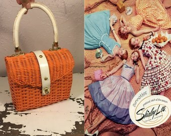 Circle of Daydreaming - Vintage 1950s Tangerine Orange Vinyl Mini Straw Handbag Purse w/White Trim