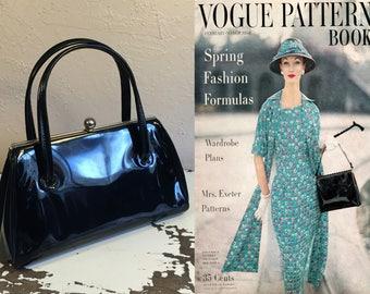 There's A Formula to Fashion - Vintage 1950s Classic Black Vinyl Faux Patent Leather Handbag Purse Bag