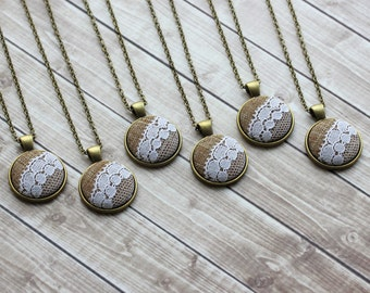 Bridesmaid Set Of 6 Necklaces, Lace And Burlap Wedding Gifts, Unique Jewelry, Round Small Pendants
