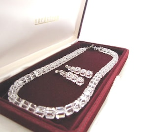 Vintage Swarovski Crystal Necklace Earring Set Wedding Anniversary Jewelry from AllieEtCie