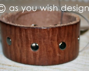 Riveted Upcycle Leather Cuff Up-cycled Leather Cuff Bracelet From Belt Upcycle Upcycled
