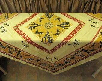 Vintage cotton tablecloth, unique, unusual, Aboroginie, Australian, Tribal print, 50 inches square, ooak