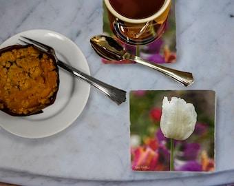 White Tulip With Raindrops  Photo Tumbled Stone Coaster, drink coaster, trivet, spring, floral, flowers, garden, stone tile,  fine art