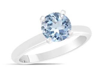 ON SALE Aquamarine Solitaire Engagement Ring 1.70 Carat 14K White Gold Certified handmade