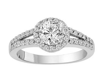 ON SALE Diamond Halo Engagement Ring 14k White Gold Certified 1.35 Carat handmade
