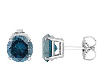 ON SALE 2.00 Carat VS2 Blue Diamond Stud Earrings 14K White Gold Certified Handmade