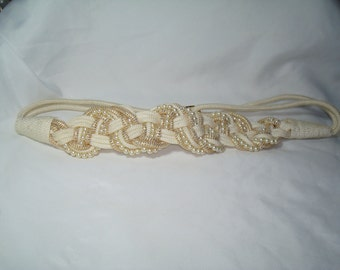 1980s Ivory Braided Corded Belt with Faux Pearls.