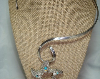 Vintage Silver Jeweled Starfish Choker with Freshwater Pearls and Swarovski   Crystals .