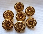 Vintage Gold Metal Buttons, Oranate, Unique, Swirling Loops, Metal shanks, 17mm, 1980, Craft Buttons, Bright Gold, Button Jewelry, 7 in lot