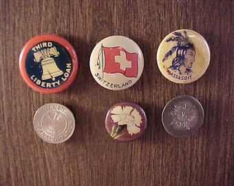 Repurposed Refrigerator Magnets - Vintage Pin Back Buttons Clothing Button Transit Token