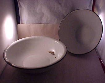 2 White Enamelware Bowls Pan