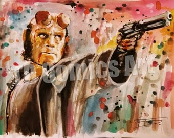 Hellboy print, comics art, watercolour, DC comics, DC universe, comics art, Hellboy art, painting, prints, comics art, marvel art