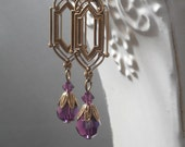 Art Deco Earrings - Art Deco Jewelry - Purple Bridesmaid Earrings - Purple Dangle Earrings - Bridesmaid Gift - Downton Abbey Style Jewelry
