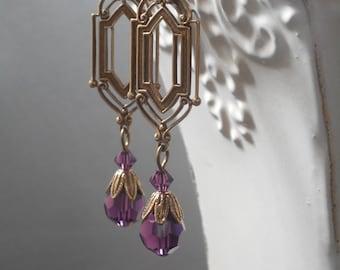 Art Deco Earrings - Art Deco Jewelry - Purple Bridesmaid Earrings - Purple Dangle Earrings - Bridesmaid Gift - Downton Abbey Style Jewelry