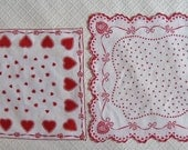 FREE SHIP! Two Vintage 1950s Valentine Handkerchiefs, As-Is