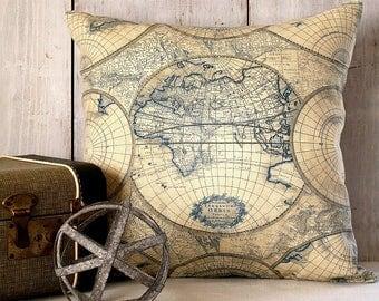 World Map PIllow Cover - Blue and Tan Globe Pillow - Vintage Map Pillow - Travel Throw Pillow - Map Decor - Wanderlust