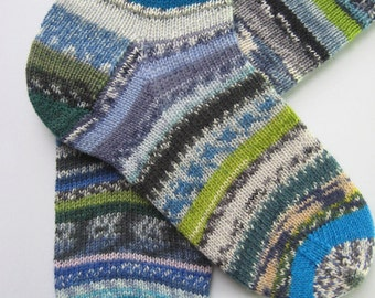 hand knitted mens wool crazy socks, UK 8-10 US 9-11, unique gift for men, large socks, blue grey green crazy socks, handknit mens wool socks