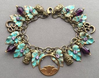 Charm Bracelet - Buddha Jewelry - Buddha Bracelet - Om Jewelry - Lotus Jewelry - Bohemian Bracelet - Yoga Jewelry - Yoga Gift - Boho Jewelry