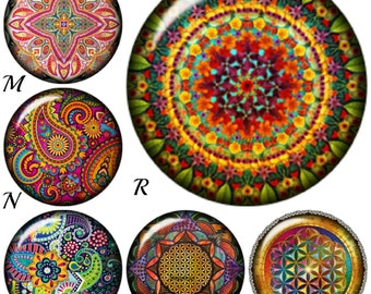 Snap Charms compatible with regular sized Ginger Snaps Jewelry, Mandala Yoga snap, Kaleidoscope snap, Paisley snap.