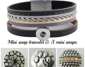 Multi strand mini snap bracelet works with petite Ginger Snaps. Comes with all 3 snap charms shown