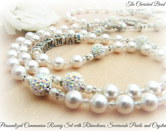 Communion Personalized Rosary Set with Radiant Rhinestones, White Swarovski Pearls and Crystals - Heirloom Quality