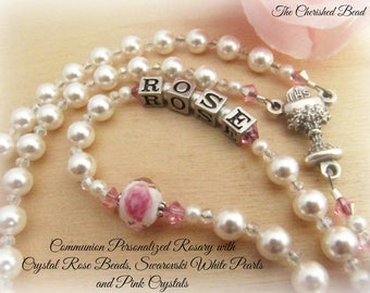 Communion Personalized  Crystal Pink and White Rose Rosary with White Swarovski Pearls and Pink Crystals - Heirloom Quality