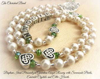 Baptism Irish Personalized Guardian Angel Rosary with Swarovski Pearls, Emerald Crystals and Silver Celtic Hearts