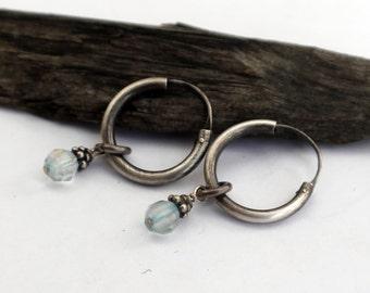 Hoop Earrings, Sterling Silver Aquamarine Dangle Earring