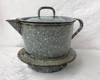 Vintage Graniteware Kettle Pitcher Coffee Pot Fits Inside Burner of Wood Stove